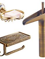 Centerset Waterfall Ceramic Valve Single Handle One Hole Antique Copper , Bathroom Sink Faucet