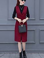 Women's Going out Casual/Daily Simple Sophisticated Fall Winter T-shirt Dress Suits,Solid Round Neck Long Sleeve Micro-elastic