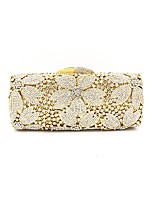 Women Bags All Seasons Metal Evening Bag Appliques Lace for Wedding Event/Party Gold
