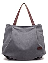 Women Bags All Seasons Canvas Shoulder Bag Zipper for Casual Coffee Gray Beige Black Blue