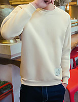 Men's Going out Sweatshirt Solid Round Neck Micro-elastic Others Long Sleeve Spring Fall