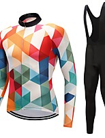 Cycling Jersey with Bib Tights Unisex Long Sleeves Bike Clothing Suits 3D Pad Checks Fashion Winter Cycling/Bike White Black