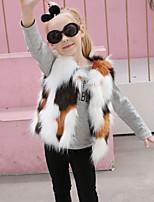 Девочки Куртка / пальто Шерсть Кроличий мех Мех енота Пэчворк Осень Зима Без рукавов