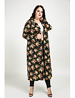 Women's Daily Plus Size Simple Cute Casual Street chic Fall Trench Coat,Floral Print Shirt Collar Long Sleeve Long Cotton Polyester