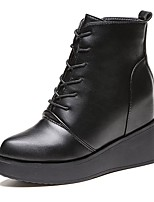 Women's Shoes PU Fall Combat Boots Boots Flat Heel Round Toe Lace-up For Casual Black