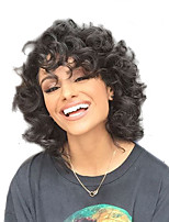 Women Synthetic Wig Capless Medium Length Curly Black African American Wig Natural Wigs Costume Wig