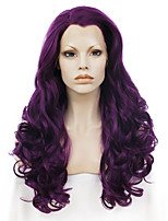 Men Women Synthetic Wig Lace Front Long Wavy Purple Natural Hairline Drag Wig Party Wig Halloween Wig Cosplay Wig Natural Wigs Costume Wig