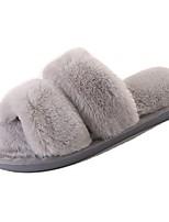 Women's Shoes PU Winter Fur Lining Comfort Slippers & Flip-Flops Open Toe For Casual Blushing Pink Purple Gray Black