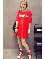 Feminino Camiseta Casual Simples Estampado Algodão Decote Redondo Meia Manga