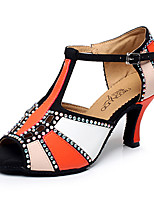 Women's Latin Leatherette Sandal Sneaker Professional Buckle Stiletto Heel Blue Red Orange Customizable