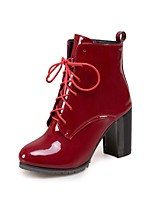 Women's Shoes Leatherette Fall Winter Fashion Boots Boots Chunky Heel Round Toe Booties/Ankle Boots Buckle For Casual Dress Burgundy Dark
