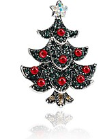 Women's Brooches Rhinestone Simple Sweet Rhinestone Alloy Tree of Life Jewelry For Christmas Going out