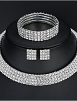 Women's Basic Elegant Rhinestone Earrings Necklace Bracelet For Wedding Daily Wedding Gifts