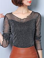 T-shirt Da donna Casual Primavera Autunno,Tinta unita Rotonda Poliestere Manica lunga Medio spessore