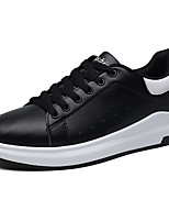 Men's Shoes PU Spring Fall Comfort Sneakers Lace-up For Casual Black/White Black White