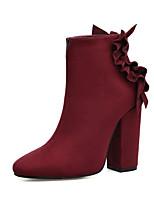 Femme Chaussures Daim Automne Hiver Confort Nouveauté Bottes à la Mode Botillons Bottes Gros Talon Bout pointu Bottine/Demi Botte