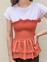 T-shirt Da donna Casual Semplice Monocolore Rotonda Cotone Manica corta