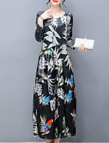 Women's Plus Size Going out Simple Loose Dress,Print Round Neck Maxi Long Sleeves Velvet Fall Mid Rise Inelastic Medium