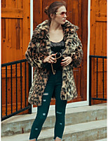 Women's Casual/Daily Work Simple Active Street chic Fall Winter Fur Coat,Leopard Square Neck Long Sleeve Long Faux Fur Polyester Others