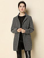 Women's Daily Going out Simple Casual Street chic Sophisticated Winter Coat,Color Block Shirt Collar Long Sleeve Regular Wool Acrylic