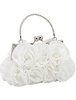 Women Bags All Seasons Satin Evening Bag Flower(s) for Wedding Event/Party Champagne White Black Red Silver
