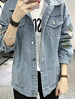 Women's Going out Casual/Daily Simple Street chic Fall Denim Jacket,Solid Floral Print Stand Long Sleeve Regular Polyester Others