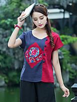 Для женщин На каждый день Футболка Круглый вырез,Шинуазери (китайский стиль) Контрастных цветов Вышивка С короткими рукавами,Хлопок Лён