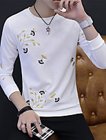 Men's Daily Casual Sweatshirt Print Round Neck Micro-elastic Polyester Long Sleeve Fall