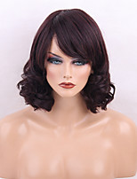 Women Human Hair Capless Wigs Dark Brown/Dark Auburn Black Medium Length Curly Natural Wave Side Part