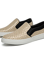 Men's Shoes Synthetic Microfiber PU Spring Fall Light Soles Loafers & Slip-Ons For Casual Black/White Black Gold