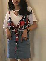 Women's Daily Casual T-shirt,Geometric Print V Neck Short Sleeves Cotton