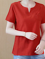 Women's Daily Casual T-shirt,Solid Sweetheart Short Sleeves Linen