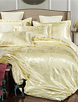 Duvet Cover Sets Floral 4 Piece Faux Silk Jacquard Faux Silk 4pcs (1 Duvet Cover, 1 Flat Sheet, 2 Shams)