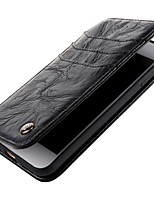 cheap -Case For Apple iPhone X iPhone 8 Wallet Flip Full Body Cases Solid Color Hard Genuine Leather for iPhone X iPhone 8 Plus iPhone 8 iPhone