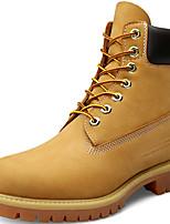 Femme Chaussures Cuir Nappa Automne Hiver Botillons boîtes de Combat Bottes Bottine/Demi Botte Pour Décontracté Jaune Café