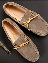 Men's Shoes Cowhide Spring Fall Moccasin Light Soles Loafers & Slip-Ons For Casual Khaki Dark Blue Black