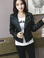 Women's Going out Street chic Fall Leather Jacket,Solid V Neck Long Sleeve Regular TPU