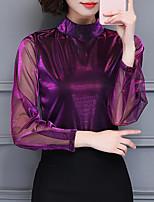 Mujer Sofisticado Casual/Diario Tallas Grandes Otoño Camiseta,Cuello Barco Un Color Manga Larga Poliéster Medio