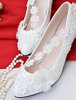 Women's Shoes Lace Leatherette Spring Fall Comfort Wedding Shoes Low Heel Pointed Toe Round Toe Applique Imitation Pearl For Wedding