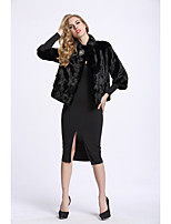 BF-Fur Style Women's Casual/Daily Sophisticated Winter Fur Coat,Solid Stand ¾ Sleeve Short Fox Fur
