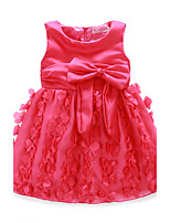 Girl's Birthday Solid Dress,Polyester Summer Sleeveless