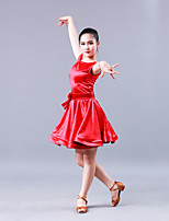 Latin Dance Dresses Children's Performance Stick-Satin 1 Piece Short Sleeve Dress