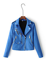 Women's Going out Casual/Daily Simple Active Street chic Spring Fall Leather Jacket,Solid Notch Lapel Long Sleeve Regular Others