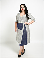 Cute Ann Women's Plus Size Casual/Daily Sexy Vintage Cute Sheath Dress,Color Block V Neck Knee-length Short Sleeves Cotton Polyester All Seasons