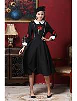 Women's Party Daily Chinoiserie Swing Dress,Color Block Embroidered Shirt Collar Midi Long Sleeves Polyester Fall All Seasons Mid Rise
