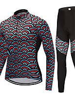 Cycling Jersey with Tights Unisex Long Sleeves Bike Clothing Suits Fast Dry Stripe Animal Winter Cycling/Bike Black