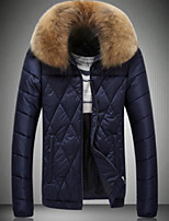 Men's Padded Coat,Simple Going out Solid-Others Cotton Long Sleeves