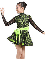 Shall We Latin Dance Dresses Children's Performance Spandex Pattern/Print Long Sleeve High Dresses
