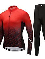 Cycling Jersey with Tights Unisex Long Sleeves Bike Clothing Suits Fast Dry 100% Polyester LYCRA® Solid Autumn/Fall Cycling/Bike Red