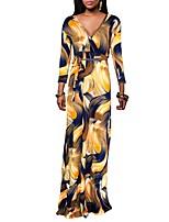 Women's Party Plus Size Vintage Boho Sheath DressColor Block V Neck Maxi Long Sleeves Polyester Spring Fall High Rise Micro-elastic